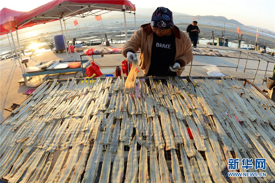山东青岛:渔村冬晒忙 鱼干飘鲜香