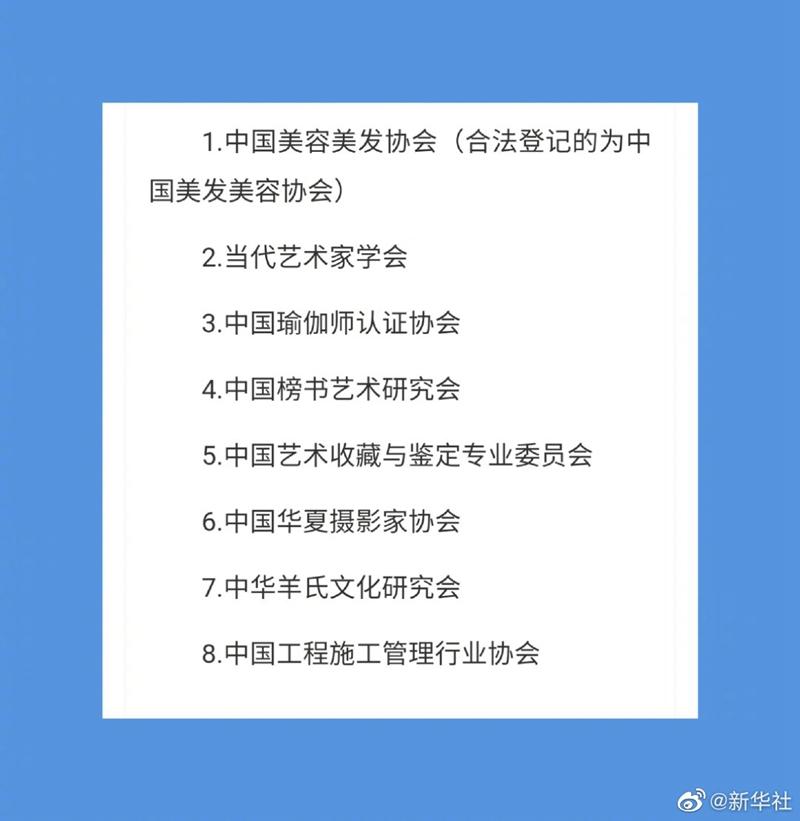 """民政部公布""""中国美容美发协会""""等8家涉嫌非法社会组织名单"""